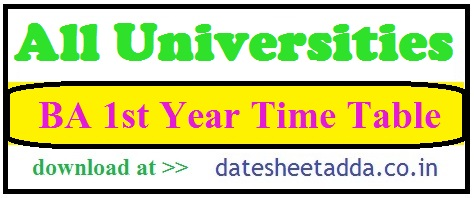 BA 1st Year Time Table 2021