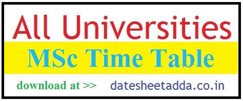 MSc Time Table 2020