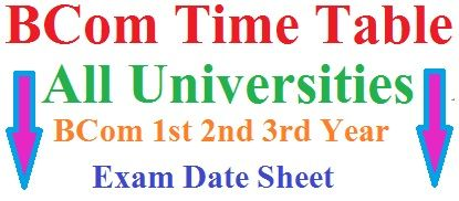 BCom Time Table 2020