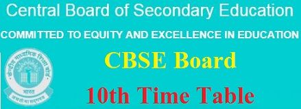 CBSE Board 10th Time Table 2020