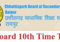 CG Board 10th Time Table