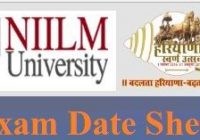 NIILM University Exam Date Sheet