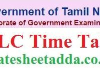 Tamil Nadu SSLC Time Table