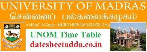 Madras University Time Table 2020