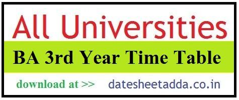 BA 3rd Year Time Table 2021