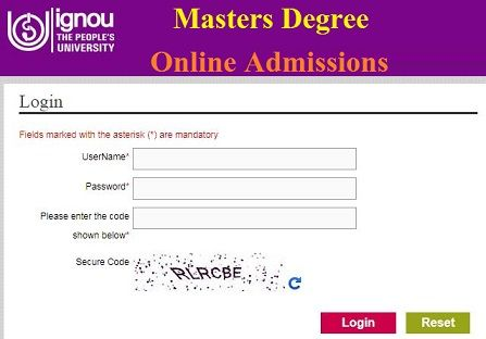 IGNOU Masters Degree Admissions 2020