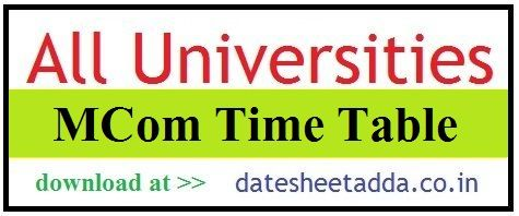 MCom Time Table