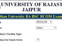 Rajasthan University BA BSC BCOM Exam Form