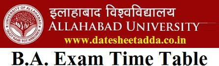 Allahabad University BA Time Table