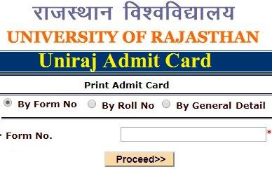 Uniraj BA Admit Card 2021