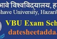 Vinoba Bhave University Exam Schedule