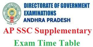 AP SSC Supplementary Time Table 2020