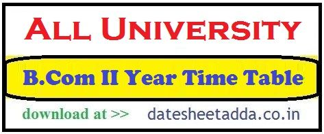 B.Com 2nd Year Time Table
