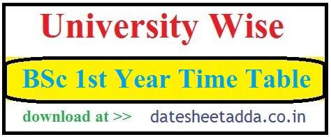 BSc 1st Year Time Table