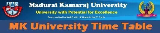 Madurai Kamaraj University Time Table 2020