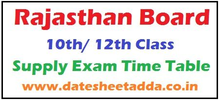 RBSE 10th/12th Supplementary Time Table