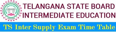 TS Inter Supplementary Time Table 2019