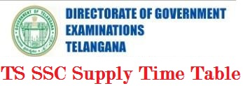TS SSC Supplementary Time Table 2019