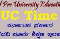 Karnataka PUC Time Table 2020