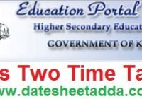 Kerala Plus Two Time Table 2020