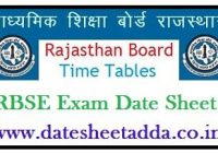 RBSE 5th Time Table