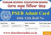 Punjab Board Roll Number Slip 2020