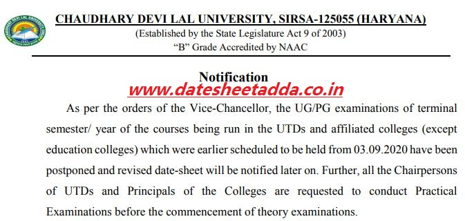 CDLU Exam Postponed Notice 2020